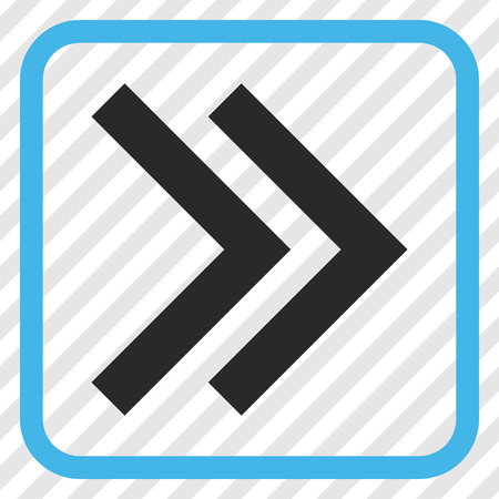 diagonally: Shift Right blue and gray vector icon. Image style is a flat pictograph symbol in a rounded square frame on a transparent diagonally hatched background.