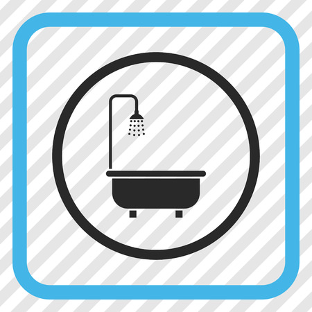 shower bath: Shower Bath blue and gray vector icon. Image style is a flat icon symbol inside a rounded square frame on a transparent diagonally hatched background.