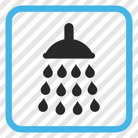 Shower blue and gray vector icon. Image style is a flat pictograph symbol in a rounded square frame on a transparent diagonally hatched background.