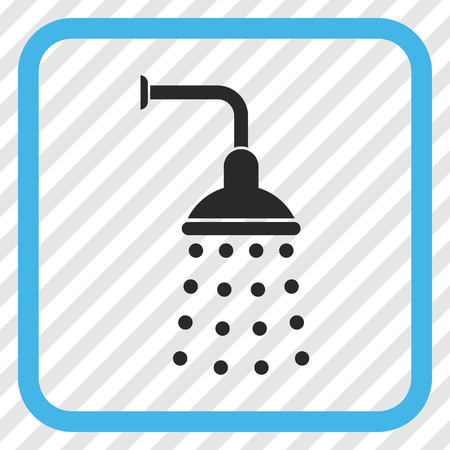 Shower blue and gray vector icon. Image style is a flat iconic symbol in a rounded square frame on a transparent diagonally hatched background.
