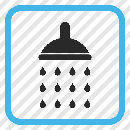 diagonally: Shower blue and gray vector icon. Image style is a flat iconic symbol in a rounded square frame on a transparent diagonally hatched background.