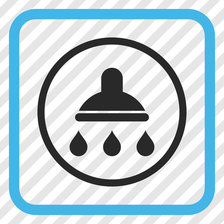Shower blue and gray vector icon. Image style is a flat icon symbol in a rounded square frame on a transparent diagonally hatched background.