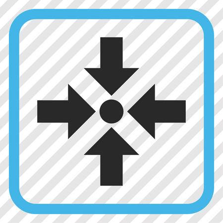 shrink: Shrink Arrows blue and gray vector icon. Image style is a flat pictogram symbol inside a rounded square frame on a transparent diagonally hatched background. Illustration