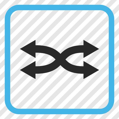 Shuffle Arrows Horizontal blue and gray vector icon. Image style is a flat pictogram symbol inside a rounded square frame on a transparent diagonally hatched background. Illustration