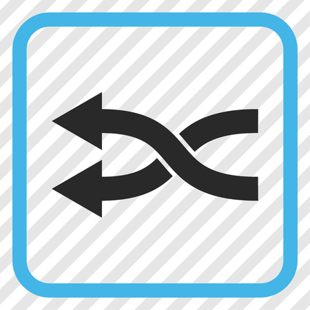 shuffle: Shuffle Arrows Left blue and gray vector icon. Image style is a flat iconic symbol inside a rounded square frame on a transparent diagonally hatched background.
