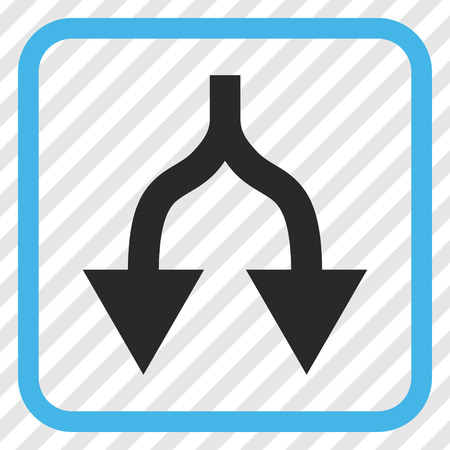 Split Arrows Down blue and gray vector icon. Image style is a flat pictogram symbol in a rounded square frame on a transparent diagonally hatched background.