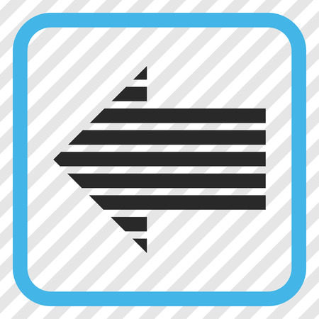 Stripe Arrow Left blue and gray vector icon. Image style is a flat icon symbol inside a rounded square frame on a transparent diagonally hatched background. Illustration