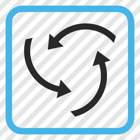 Swirl Arrows blue and gray vector icon. Image style is a flat pictogram symbol in a rounded square frame on a transparent diagonally hatched background.