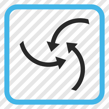 Swirl Arrows blue and gray vector icon. Image style is a flat iconic symbol in a rounded square frame on a transparent diagonally hatched background.