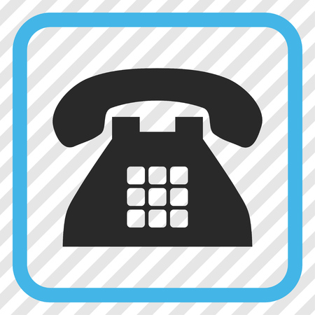 Tone Phone blue and gray vector icon. Image style is a flat pictograph symbol in a rounded square frame on a transparent diagonally hatched background.
