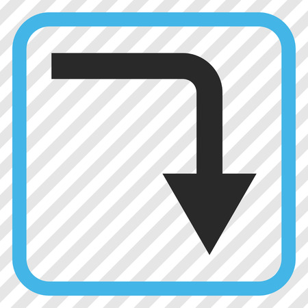 turn down: Turn Down blue and gray vector icon. Image style is a flat iconic symbol inside a rounded square frame on a transparent diagonally hatched background.