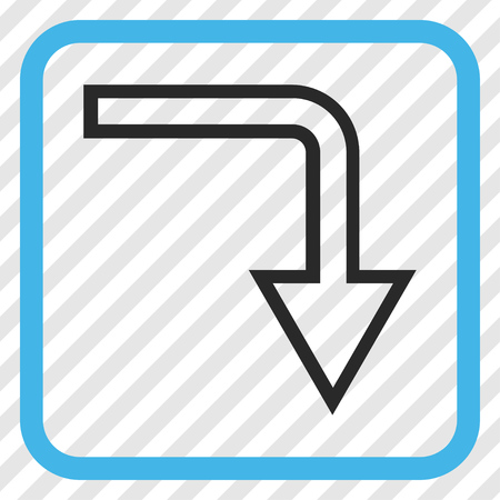 turn down: Turn Down blue and gray vector icon. Image style is a flat pictogram symbol in a rounded square frame on a transparent diagonally hatched background. Illustration