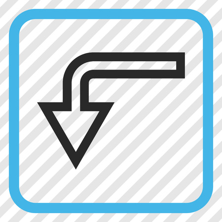 turn down: Turn Down blue and gray vector icon. Image style is a flat pictograph symbol inside a rounded square frame on a transparent diagonally hatched background.