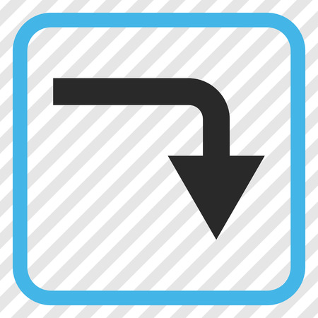 turn down: Turn Down blue and gray vector icon. Image style is a flat icon symbol inside a rounded square frame on a transparent diagonally hatched background.