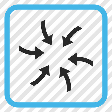 Twirl Arrows blue and gray vector icon. Image style is a flat pictograph symbol in a rounded square frame on a transparent diagonally hatched background.