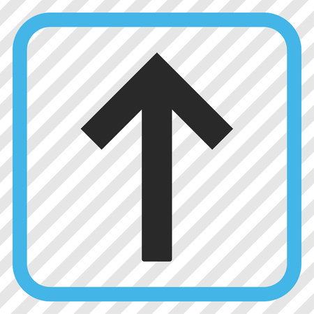 top pointer: Up Arrow blue and gray vector icon. Image style is a flat icon symbol inside a rounded square frame on a transparent diagonally hatched background. Illustration