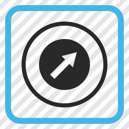 upright: Up-Right Rounded Arrow blue and gray vector icon. Image style is a flat icon symbol in a rounded square frame on a transparent diagonally hatched background. Illustration