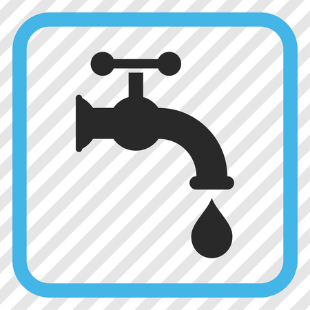 aqueduct: Water Tap blue and gray vector icon. Image style is a flat icon symbol in a rounded square frame on a transparent diagonally hatched background.