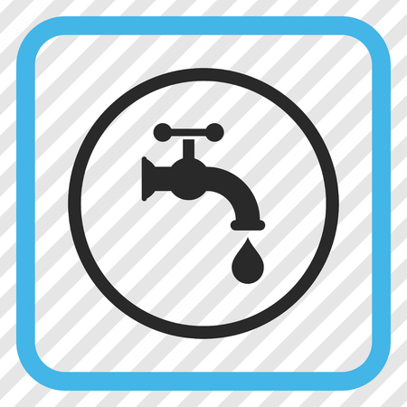 aqueduct: Water Tap blue and gray vector icon. Image style is a flat pictograph symbol in a rounded square frame on a transparent diagonally hatched background.