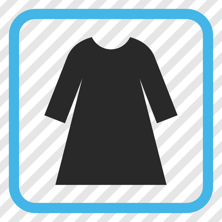 transparent dress: Woman Dress blue and gray vector icon. Image style is a flat pictograph symbol inside a rounded square frame on a transparent diagonally hatched background.
