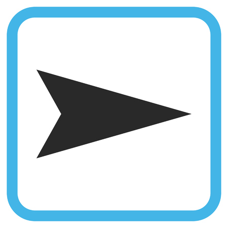 Arrowhead Right blue and gray vector icon. Image style is a flat icon symbol inside a rounded square frame on a white background.