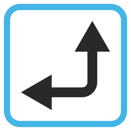 double cross: Bifurcation Arrow Left Up blue and gray vector icon. Image style is a flat pictogram symbol inside a rounded square frame on a white background. Illustration