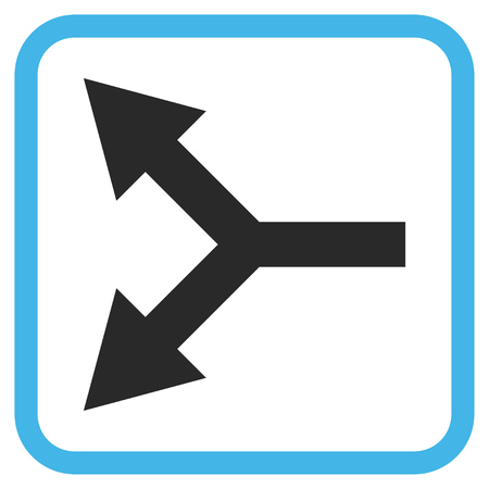 bifurcation: Bifurcation Arrow Left blue and gray vector icon. Image style is a flat pictogram symbol inside a rounded square frame on a white background.