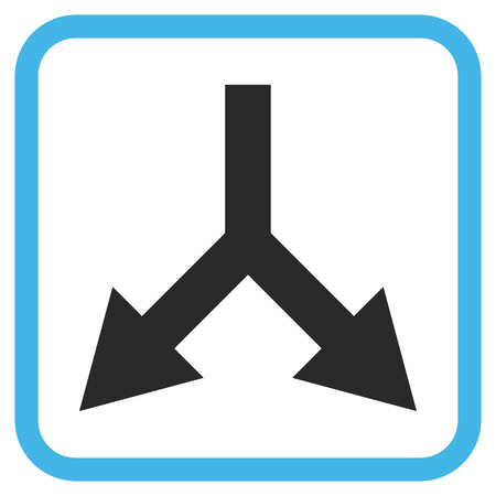 bifurcation: Bifurcation Arrow Down blue and gray vector icon. Image style is a flat pictograph symbol in a rounded square frame on a white background.
