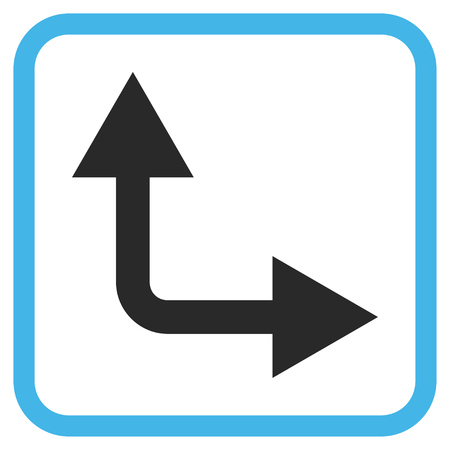 bifurcation: Bifurcation Arrow Right Up blue and gray vector icon. Image style is a flat pictogram symbol inside a rounded square frame on a white background.