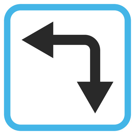 bifurcation: Bifurcation Arrow Left Down blue and gray vector icon. Image style is a flat pictogram symbol inside a rounded square frame on a white background.