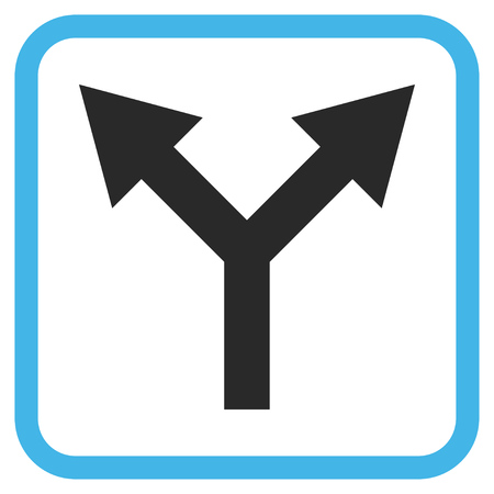 bifurcation: Bifurcation Arrow Up blue and gray vector icon. Image style is a flat iconic symbol in a rounded square frame on a white background.