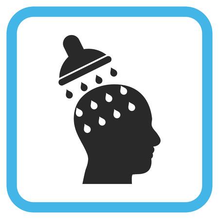 ブルーとグレーのベクター アイコンを洗っている脳。画像のスタイルは、白い背景に丸みを帯びた正方形のフレームのフラット絵文字シンボルです  イラスト・ベクター素材