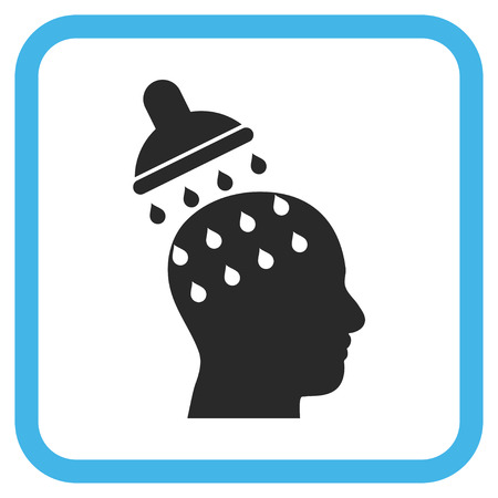 Brain Washing blue and gray vector icon. Image style is a flat pictograph symbol in a rounded square frame on a white background. Illustration