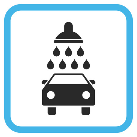 sanitize: Car Shower blue and gray vector icon. Image style is a flat iconic symbol inside a rounded square frame on a white background.