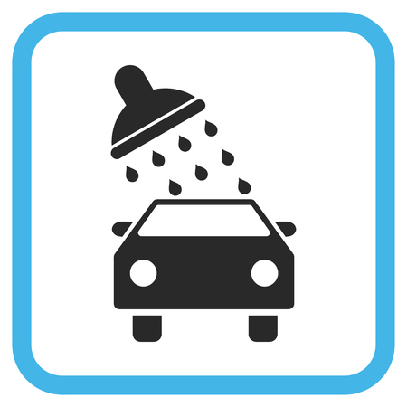 antiseptic: Car Wash blue and gray vector icon. Image style is a flat pictogram symbol in a rounded square frame on a white background. Illustration