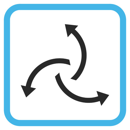 Centrifugal Arrows blue and gray vector icon. Image style is a flat iconic symbol inside a rounded square frame on a white background.