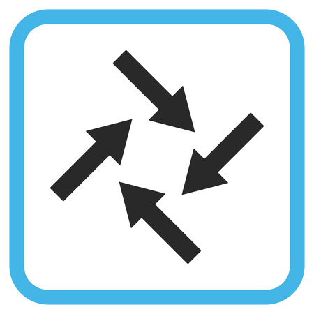 revolve: Centripetal Arrows blue and gray vector icon. Image style is a flat icon symbol in a rounded square frame on a white background.