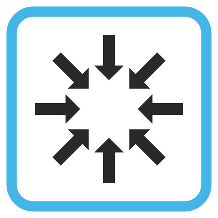 collapse: Collapse Arrows blue and gray vector icon. Image style is a flat pictogram symbol in a rounded square frame on a white background. Illustration
