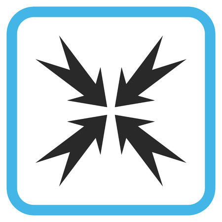 Compression Arrows blue and gray vector icon. Image style is a flat icon symbol inside a rounded square frame on a white background. Illustration
