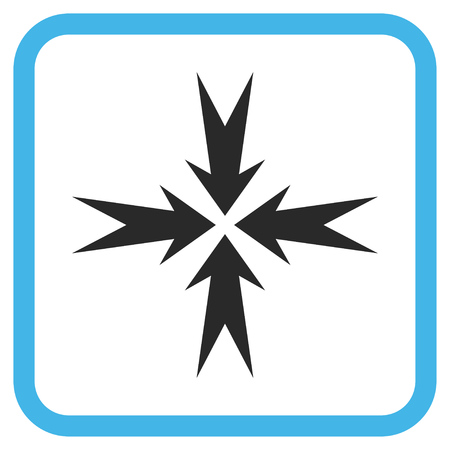compress: Compression Arrows blue and gray vector icon. Image style is a flat pictogram symbol inside a rounded square frame on a white background.