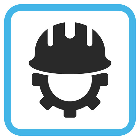 hardhat: Development Hardhat blue and gray vector icon. Image style is a flat pictogram symbol inside a rounded square frame on a white background.