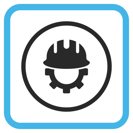 hardhat: Development Hardhat blue and gray vector icon. Image style is a flat pictograph symbol in a rounded square frame on a white background.