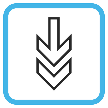 redirect: Direction Down blue and gray vector icon. Image style is a flat icon symbol inside a rounded square frame on a white background. Illustration