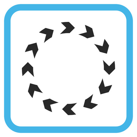circling: Circulation blue and gray vector icon. Image style is a flat iconic symbol inside a rounded square frame on a white background. Illustration