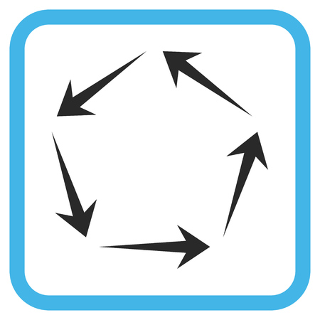 Circulation blue and gray vector icon. Image style is a flat icon symbol inside a rounded square frame on a white background.