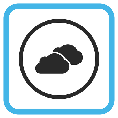 saas: Clouds blue and gray vector icon. Image style is a flat pictograph symbol inside a rounded square frame on a white background.