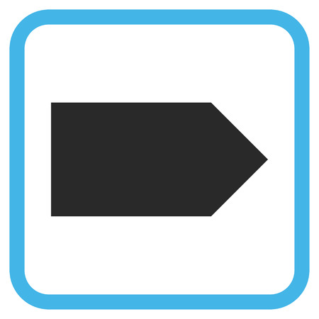 redirect: Direction Right blue and gray vector icon. Image style is a flat pictogram symbol inside a rounded square frame on a white background. Illustration