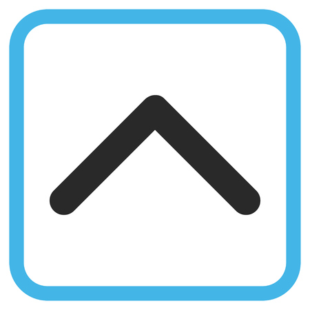 upward movements: Direction Up blue and gray vector icon. Image style is a flat pictogram symbol in a rounded square frame on a white background. Illustration