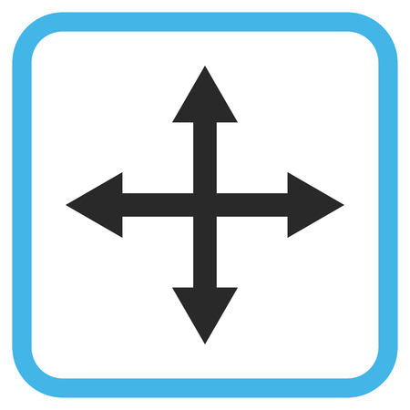 Expand Arrows blue and gray vector icon. Image style is a flat pictogram symbol in a rounded square frame on a white background.