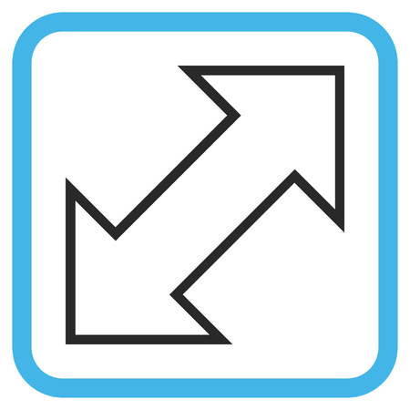 inverse: Exchange Diagonal blue and gray vector icon. Image style is a flat pictograph symbol inside a rounded square frame on a white background.